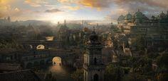 City of thousand temples Dmitry Zaviyalov Fantasy city Fantasy landscape Fantasy art landscapes