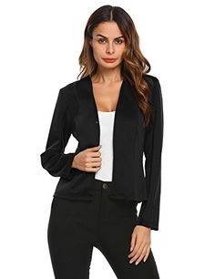 Zeagoo Womens Fashion Long Sleeve Collarless Casual Work Office Jacket Blazer -- Click image for more details. (This is an affiliate link)