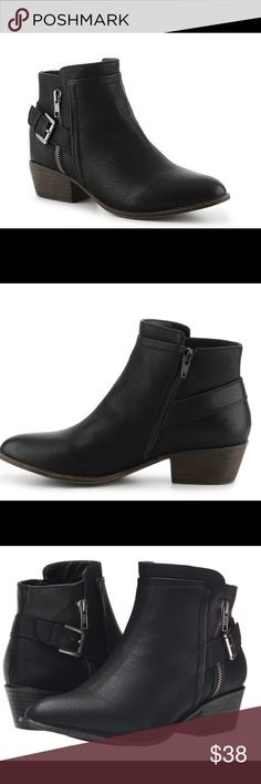 """Madden Girl Huntz Ankle Booties With a decorative zipper and buckle strap accent, the Huntzz bootie will complement a number of your casual looks. This western inspired ankle boot from Madden Girl is a perfect style for seasonal transition. Faux leather upper Inside zipper for easy on/off Decorative outside zipper Adjustable buckle strap accent Almond toe 1½"""" stacked block heel Synthetic sole Imported In like new condition, comes with box. I purchased these and wore them 1 day to work at the…"""