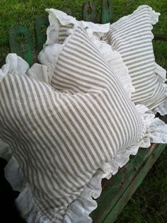 Natural Flax and Cream Stripe Washed Linen Euro Shams from cottage & cabin - just love!!