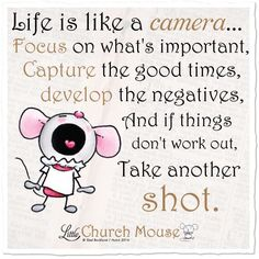 Life is like a Camera... Focus on what's important, Capture the good times, Develope the negatives, and if things don't work out, Take another Shot.
