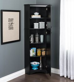 Prepac Elite W Wood Composite Freestanding Utility Storage Cabinet at Lowe's. Make the most out of your unused corner spaces. This sophisticated, sturdy and functional 72 In. tall corner cabinet includes 3 adjustable shelves to Utility Storage Cabinet, Storage Shed Organization, Storage Shelves, Tall Corner Cabinet, Mdf Doors, Corner Storage, White Laminate, Adjustable Shelving