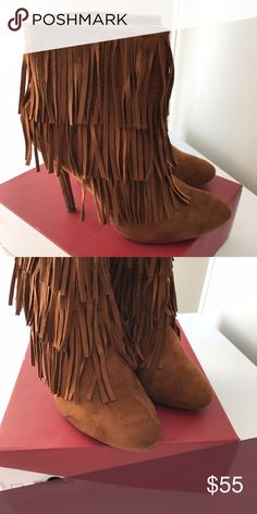 Fringe heels like new condition. Size 10. Nature Breeze tan suede fringe heels. Size 10. Like new condition. nature breeze Shoes Ankle Boots & Booties