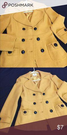2a677eda7360 Coat Mustard yellow pea coat Forever 21 Jackets   Coats Pea Coats Mustard  Yellow