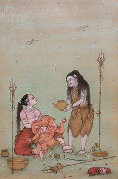 Shiva , Parvati and Ganesha by Mahaveer Swami