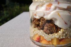 Quinoa Parfait...yogurt, almonds, nectarines..
