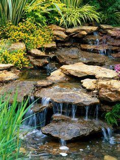 Backyard Plants, Ponds Backyard, Backyard Ideas, Garden Ponds, Pond Landscaping, Landscaping With Rocks, Waterfall Landscaping, Pond Waterfall, Small Waterfall