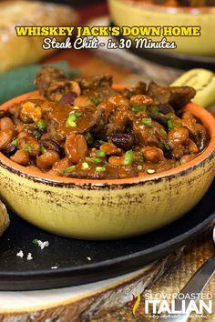 Best Ever Jack Daniel's Whiskey Steak Chili from theslowroasteditalian.com #beef #comfortfood #recipe