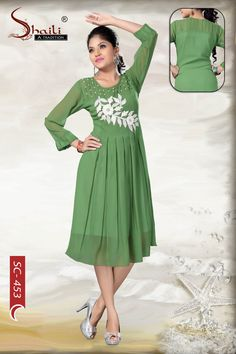 A-La-Mode Designer Indian-style Georgette Tunic Dress by Snehal Creation Wear Store, Indian Fashion, Ethnic, Cold Shoulder Dress, Indian Style, Kurtis, How To Wear, Stuff To Buy, Tops