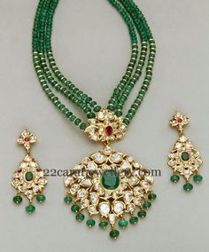 Three layered small round emeralds beads set with gold bits. Two step pachi work kundan pendant. Studded with large ruby, emerald stones. Indian Wedding Jewelry, Bridal Jewelry, Beaded Jewelry, Beaded Necklace, Necklaces, Bead Jewellery, Jewellery Shops, Pearl Necklace, Livros