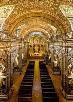 """""""La Iglesia de la Compañía de Jesús, Quito, Ecuador"""" rises in the historic center of Quito, Ecuador. It is one of the most significant examples of Spanish Baroque architecture in South America."""
