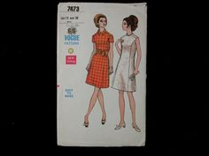 Dressmaking pattern; Vogue - No.7473 - Semi-fitted - A line one piece dress. Paper pattern.