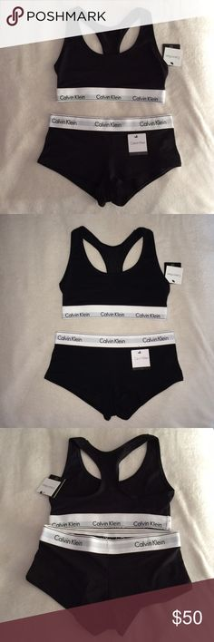Calvin Klein Set Brand new with tags SMALL bottoms and MEDIUM top, but I'm listing as S since the top can run small. Both pieces are black and match perfectly. One bra, one pair of Boyshorts. Very popular on Instagram and guaranteed 100% authentic. NO TRADES Calvin Klein Intimates & Sleepwear
