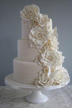 Cascade of roses wedding cake