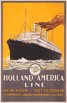 A. Gronholdt poster: Holland American Line New York - Rotterdam