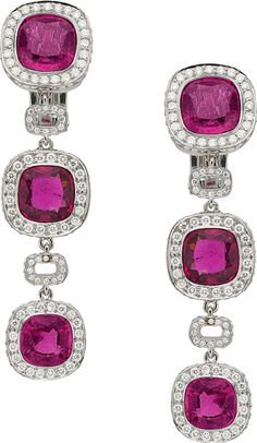 Pink Tourmaline, Diamond, White Gold Earrings, by Laura Munder