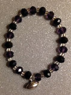 Purple & Crystal Beads w/Silver Football