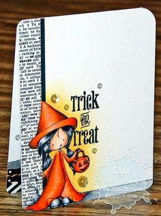 Lisa's Life Lines: Tiddly Inks Halloween Card--LOVE the orange hat and robe!!!