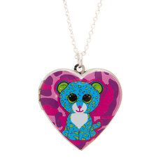 Ty Beanie Boos Leona the Leopard Heart Locket Pendant Necklace