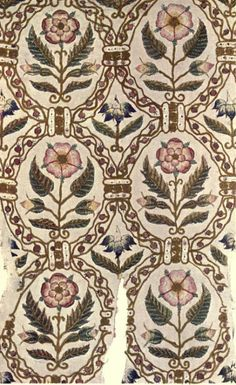 Portion of a tunic embroidered with silk and silver-gilt threads. Elizabethan. English embroidery by A. F. Kendrick. Published 1913 http://archive.org/stream/englishembroider00kendrich#page/n9/mode/2up