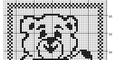 Filet Crochet Bear - Chart A Pattern by Teresa Richardson Chain 172 for the starting chain. Chain 3 to turn which will count as the first do...