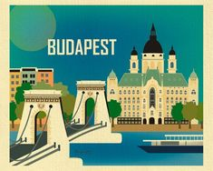 ARTIST INSPIRATION: This is a stylized scene of Budapest, Hungary. This skyline features the Gresham Palace and Chain Bridge on the Danube River. Poster Vintage, Vintage Travel Posters, Old Posters, Europe Centrale, America Images, Hungary Travel, Horizontal Wall Art, Triomphe, Skyline Art