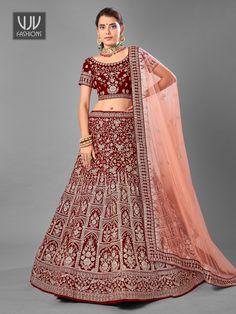 Rs17,500.00 Latest Bridal Lehenga, Bridal Lehenga Online, Lehenga Choli Online, Bridal Lehenga Choli, Lehenga Blouse, Designer Bridal Lehenga, Party Wear Lehenga, Maroon Color, Indian Ethnic Wear
