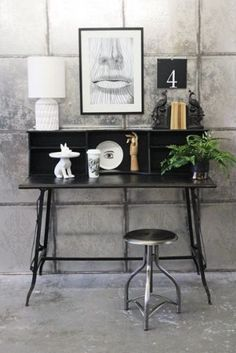 Slim Black Metal Writing Desk £345 64 deep x 125 cm wide