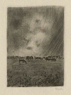 Bohuslav Reynek Pastorale III / Pastoral III suchá jehla / dry point 10,6 x 7,4 cm, 1942-47, opus G 165 Monochrome Painting, Light And Shadow, Painting & Drawing, Printmaking, Art Gallery, Drawings, Prints, Illustrations, Art
