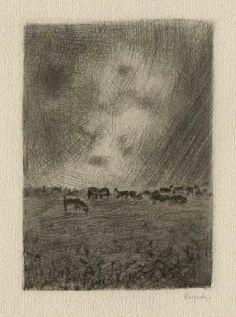 Bohuslav Reynek Pastorale III / Pastoral III suchá jehla / dry point 10,6 x 7,4 cm, 1942-47, opus G 165