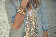 chambray shirt + gold sequin top + gold accessories