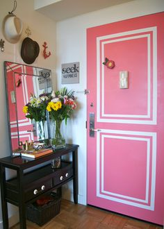 Hello, pink door! What a cute and chic idea for a girl's college apartment entryway. | madebygirl.blogspot.com