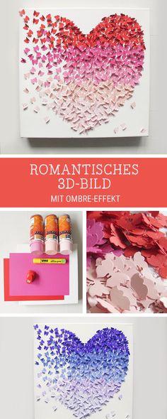 DIY-Anleitung: 3D-Bild mit Schmetterlingen im Ombré-Look selber machen via…