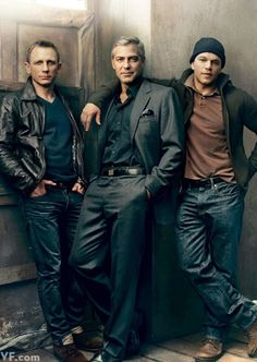 Three Kings: Daniel Craig, George Clooney, and Matt Damon photographed by Annie Leibovitz. --- Wait ... These are my three favorite guys.. in one picture. OMG