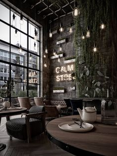 haus interieurs Qatar Calm Street Cafe at VWArtclub Design Bar Restaurant, Deco Restaurant, Industrial Restaurant Design, Modern Restaurant, Japanese Restaurant Interior, Modern Cafe, Design Industrial, Restaurant Ideas, Cafe Shop Design