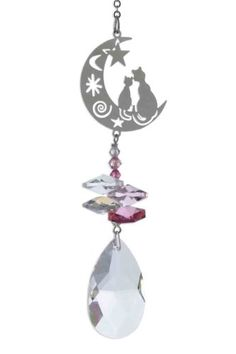 Two Cats on Moon Rainbow Making Hanging Window Swarovski Elements Crystal Suncatcher (pink) by Hanging Crystals Moon Rainbow, Swarovski, Hanging Crystals, Suncatchers, Pink, Windows, Amazon, Cats, Decor