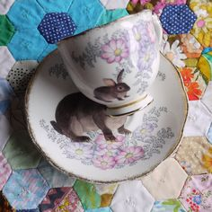 Illustrated Vintage Cup and Saucer Set Juno by thestorybookrabbit, $35.00