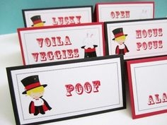 Personalized Magician and Magic Show Food Tent Cards or Place Cards | adorebynat #wansav  Magic Show Themed Party is one fun party to plan and surely an entertained one to attend. They are a perfect birthday theme for boys and girls. These tent cards can be used as food cards or place cards. There are 3 (three) different images used in here: a Magician, a Bunny in the Hat, and Magic Cards. Customization is available at no additional cost.