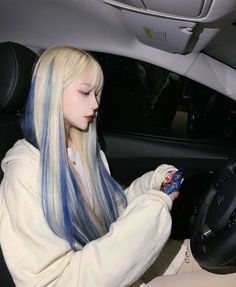 Cute Hair Colors, Hair Dye Colors, Blonde And Blue Hair, Blue Hair Streaks, Hair Color Underneath, Foto Fantasy, Dying My Hair, Aesthetic Hair, Hair Inspiration