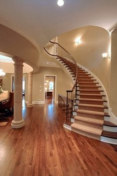 Carpeted Curved Open Rise Stair