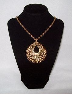 Crown Trifari Necklace - Abstract Golden Sun - Opera Length 1960s - Offered by Annabelle's Cabinet, $68.00