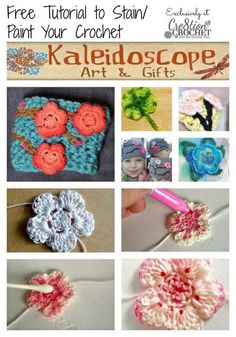 Staining/Painting crochet...   http://www.cre8tioncrochet.com/2014/03/stain-paint-crochet/