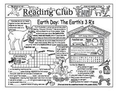 FREE - EARTH DAY: THE EARTH'S 3 R'S - Here is our Earth Day-themed Two-Page Activity Set and Crossword Puzzle in a FREE bundle! Includes:  Earth Day 3 R's - Reduce Reuse Recycle Two-Page Activity Set: Learn about easy ways we can all help keep the envir