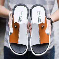 Men Color Blocking Leather Non Slip Wear Resistant Slip-ons Casual Beach Sandals sells at a wholesale price, more other mens slippers also sell at a wholesale price. Leather Slippers For Men, Mens Slippers, Fashion Sandals, Sandals Outfit, Dress Shoes, Suede Shoes, Leather Sandals, Beach Sandals, Men Sandals