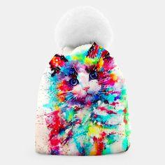 Women Beanie Cute Cat Design #women #beanie #cat #catquotes #style #winter #accessories Watercolor Cat, Watercolor Design, Beanie, Cat Quotes, Unique Image, Cat Design, Cat Lovers, Hero, Cats