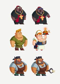 design of characters for mobile game, Katya Kotyaka Character Design Cartoon, 2d Character, Character Creation, Character Design References, Character Concept, Cute Characters, Cartoon Characters, Old Man Style, Game Design