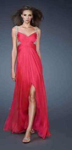 Cute V-neck Red A-Line Sleeveless Natural Evening Dress Sale kaladress11700