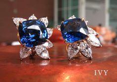Classic Blue Sapphire and Diamonds Ear clips. Blue Sapphires Natural from Sri Lanka 15 carats www.ivynewyork.com #bluesapphire #bluesapphireearrings