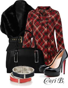 """Plaid w/Credo Milano...."" by cori-black ❤ liked on Polyvore"