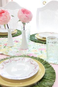 Decorating Our Dining Table for Spring — Styled 3 Ways!   The Rustic Boxwood blog   dining room, tablescape, watercolor, faux flowers, peonies, table runner, vintage china, china, table runner, milkglass, vintage